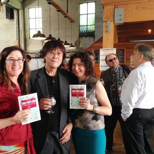 Left to right: Rhonda Hughes, Teruo Kurosaki, Liz Crain. Right before the party started. Kanpai!