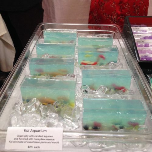 "Not a great photo of Gena's gorgeous entirely edible ""koi aquariums"" http://www.yumeconfections.com/"