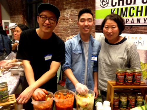 We first took her to the Choi's Kimchi table with Matt and Chong Choi and Elmo. Choi's is my very favorite kimchi. Matt and his mom come to the fest every year. We love them.