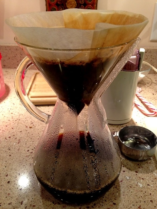 The awesome Chemex coffee maker that my brother and sister-in-law gave me for Christmas. It makes super tasty coffee.