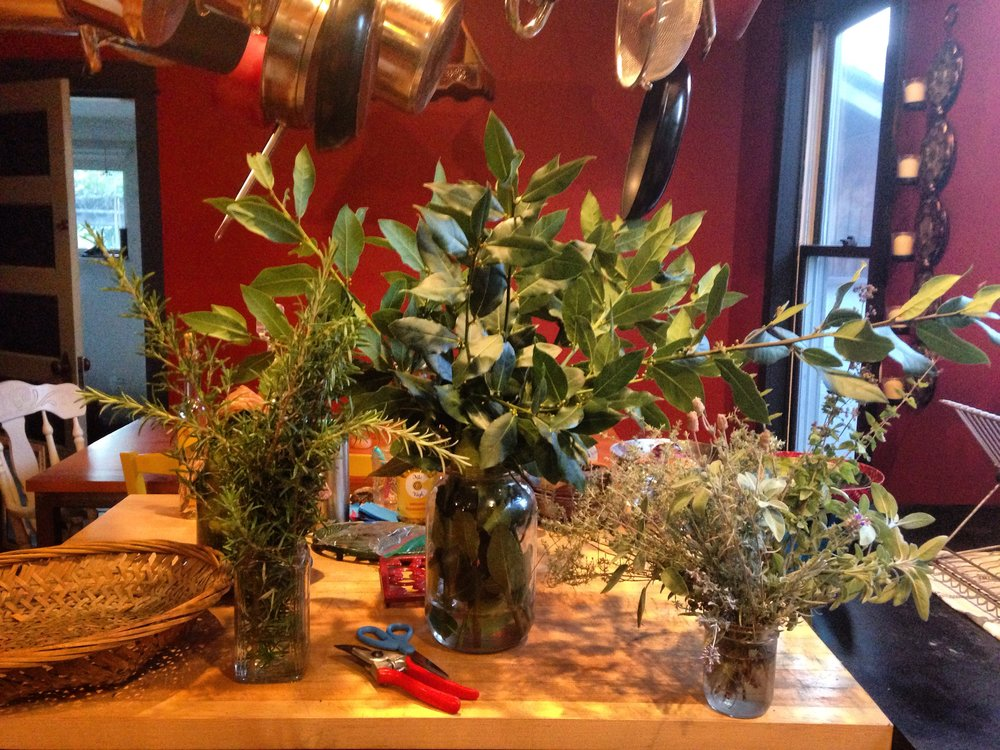 On the day of the party I had the fun job of snipping all sorts of herbs from my garden for...