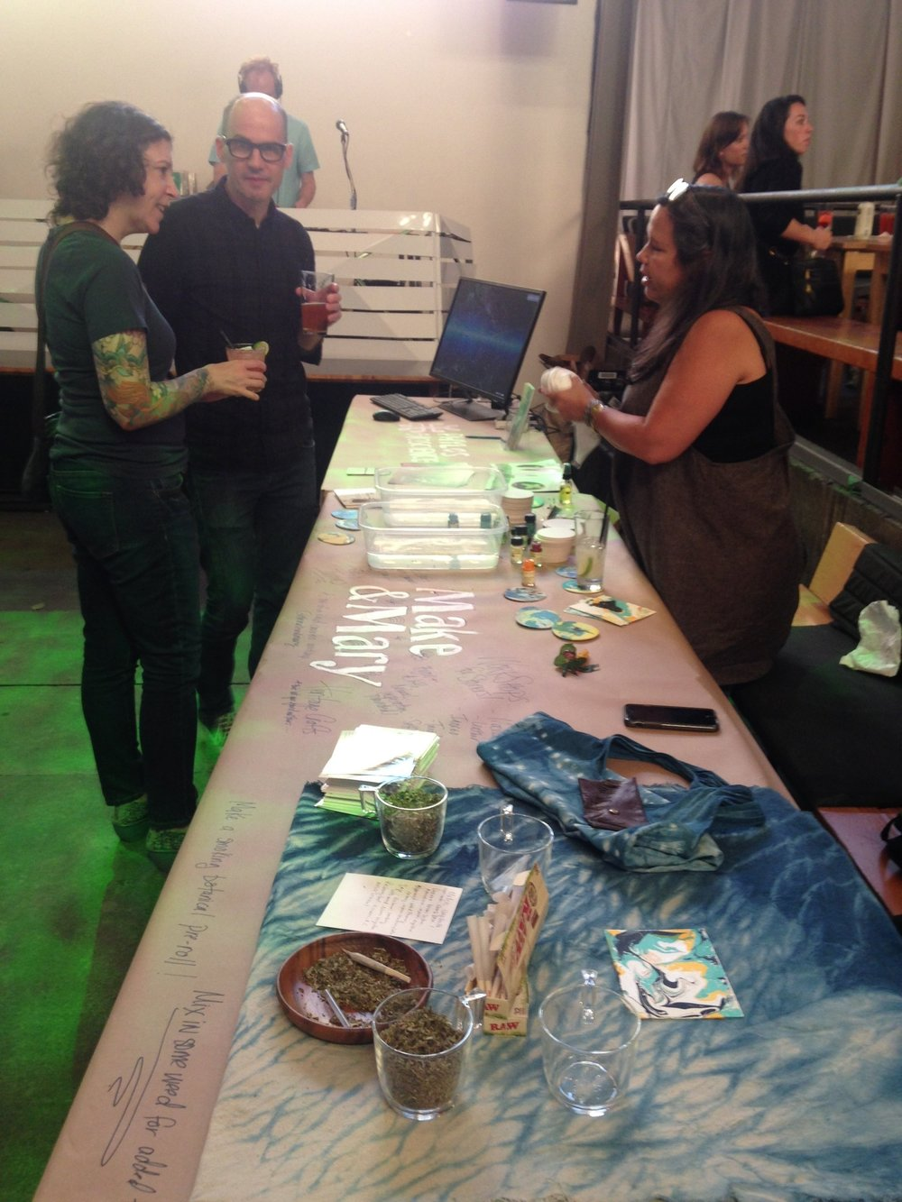 My friends Robin and Mike were amongst the first to arrive. Here they are talking with Yvonne Perez Emerson of  Make & Mary . Portland-based Make & Mary offers up all sorts of rad creative arts and crafts cannabis workshops.
