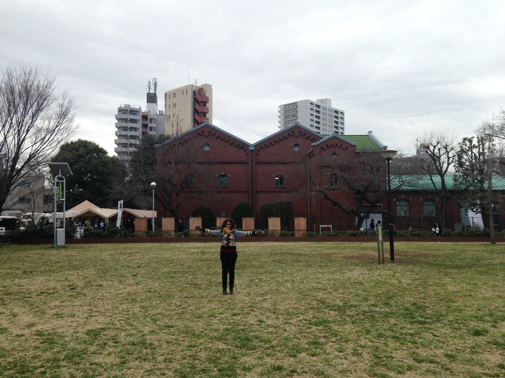 I asked Jimbo to snap this photo of me as we arrived at Akarenga Red Brick (home of F3 on Saturday and Sunday). Festival talks,panels, performances, tastings and more were held throughout the enormous 100+ year old no longer operating sake brewery as well as outside surrounding it -- primarily to the left and back of the building as oriented in this photo.