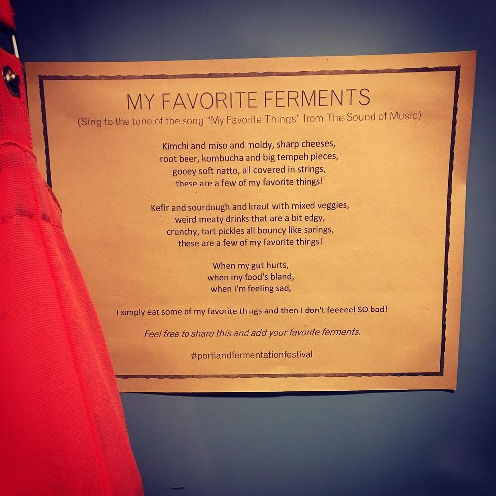 Festival co-organizer Claudia Lucero of Urban Cheesecraft dreamed up this super fun festival version of My Favorite Things and put it up on stall doors in the Ecotrust men's and women's bathrooms! So funny and sweet. Photo by Theresa Minor.