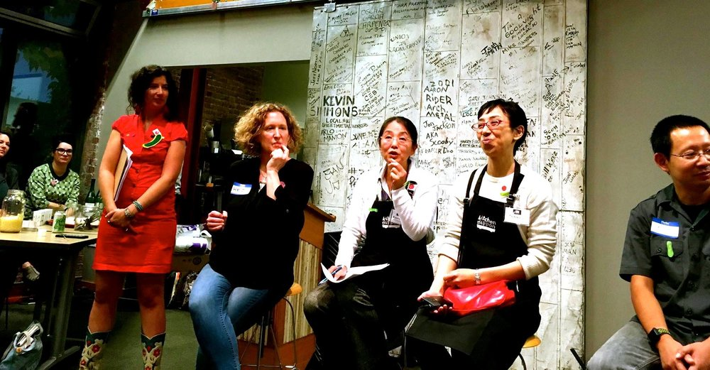 Once we got our mics the panel was even better. We were heard all sorts of great fermentation in Japan stories and insights from Kaoru (speaking here) and Machiko (to her left) from Kitchen Nippon as well as Yuji of Kombucha Ship to Machiko's left and Heidi to my left. My friend Earnest Migaki of Jorinji Miso filmed the panel and I'll post the video of it at some point soon too. We'll probably put it up on YouTube. Photo by Earnest Migaki.