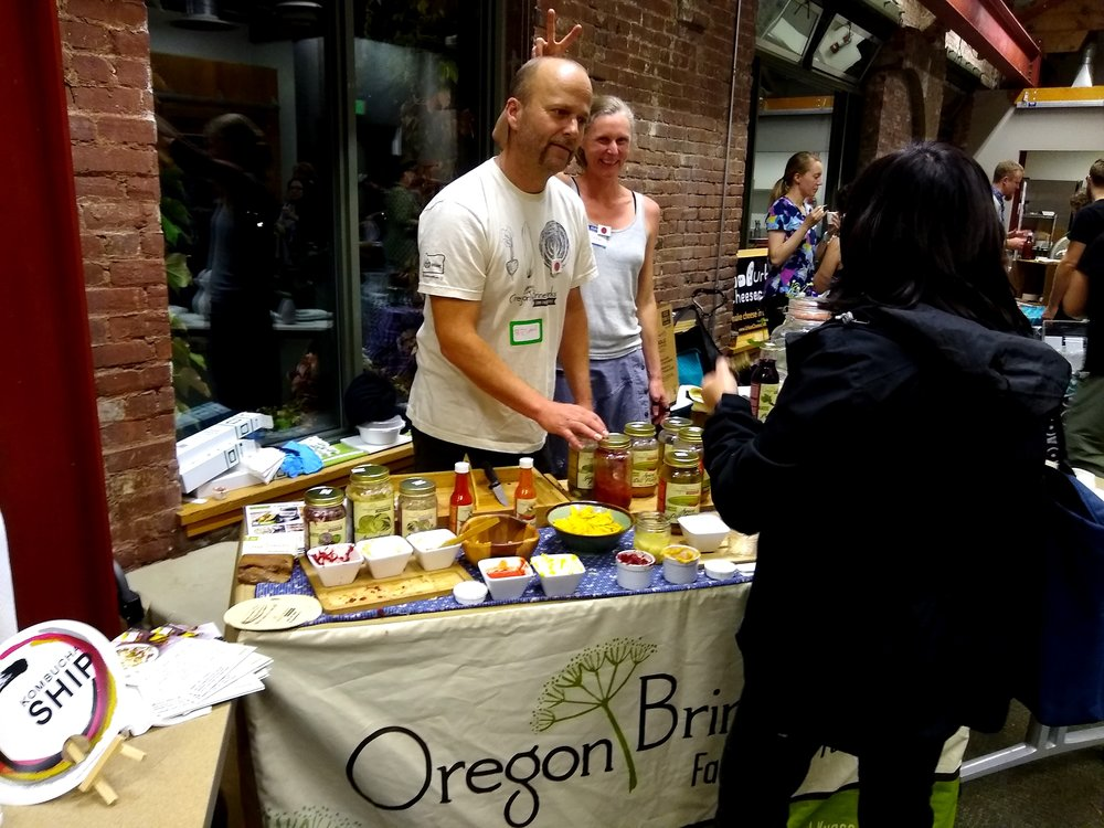 She tabled next too (and gave bunny ears too ;) another festival favorite — Oregon Brineworks' Brian Shaw from Hood River. OB always puts out the tastiest rainbow-of-colors spread of ferments. We're so glad that their business is thriving and that we can get their ferments all over town now.