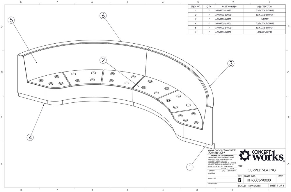 Curved Bench Millwork Drawing