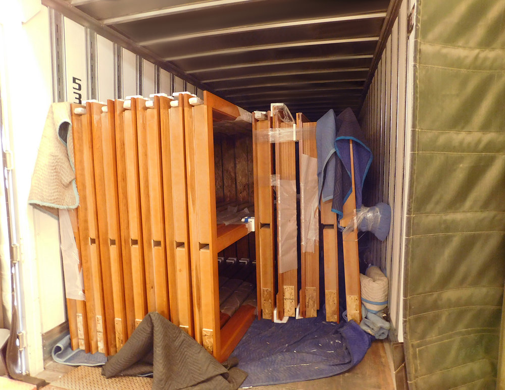 Blanket-Wrapped Millwork Assemblies in Trailer