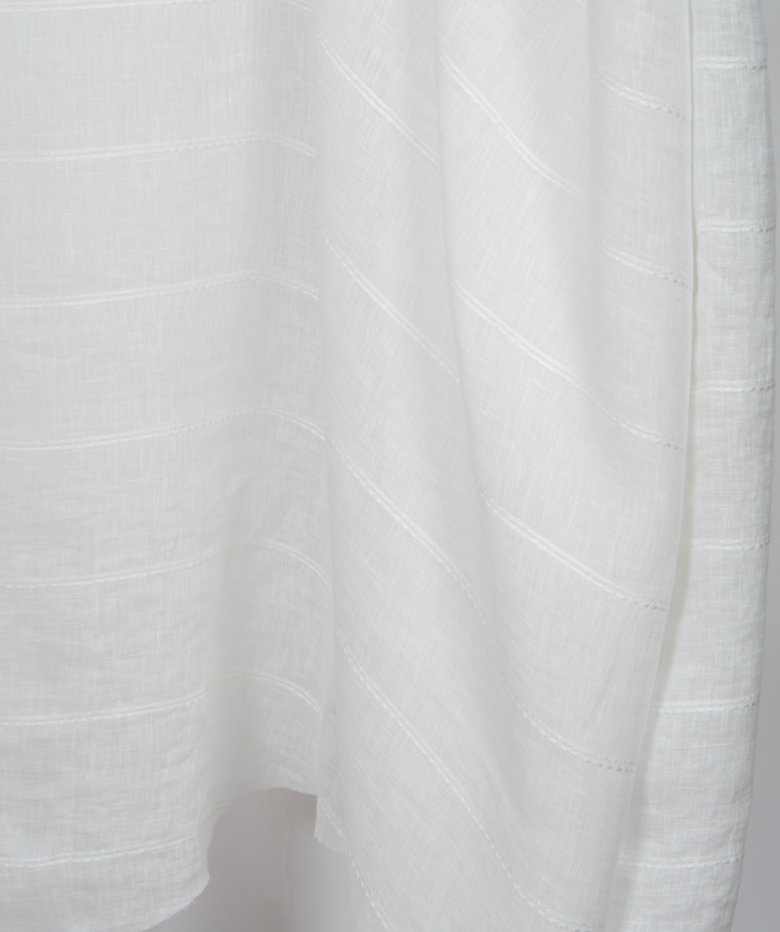 This sheer is light weight and flows when the breeze hits it. This fabric is double width, stripes come off the roll railroaded (horizontal). -