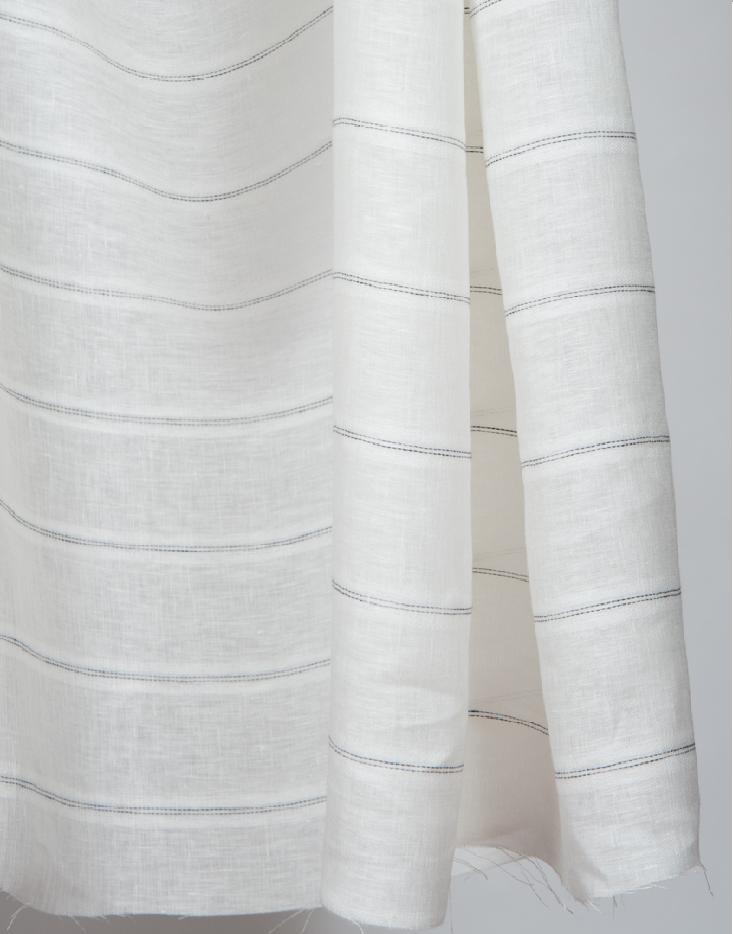 This soft light-weight sheer does really well as conventional curtains or roman shades. This fabric is double width, stripes come off the roll railroaded (horizontal). -