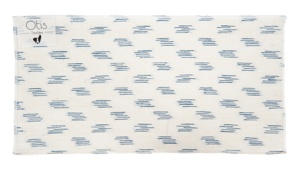 This Drapery weight fabric has a tight crisp weave. It is heavier then your average drapery weight fabric making it keep its crisp look when made into curtains. The oyster background is 100% Linen and the Blue Jacquard is 100% silk. -