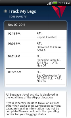 Exapmle of Delta's in-app baggage tracking