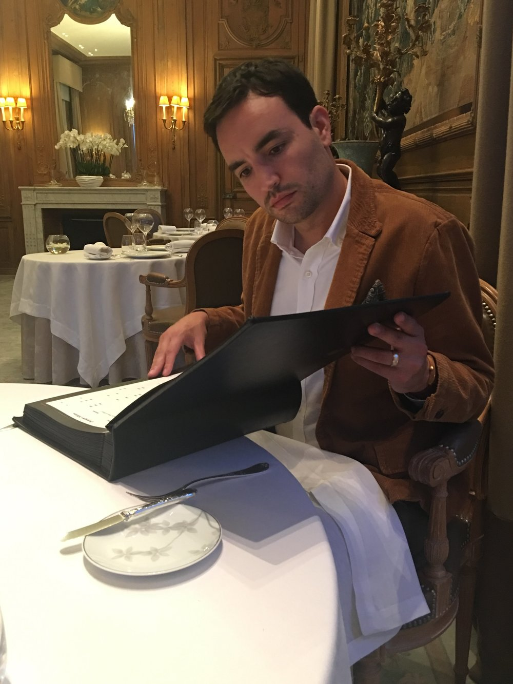 reading through one of the largest CHAMPAGNE lists anywhere at michelin stared LE PARC in reims