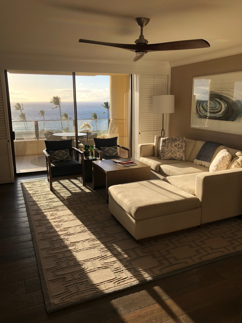 Living room of the Ocean View Suite