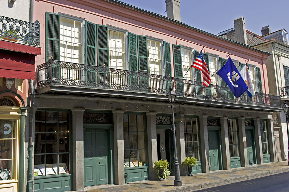The Historic New Orleans Collection, THNOC - Hours:Royal Street campus, including The Shop at The Collection:Tuesday through Saturday, 9:30 a.m. – 4:30 p.m.Sundays, 10:30 a.m. – 4:30 p.m.Closed Mondays and Major HolidaysAdmission is free.  Guided tours of the Royal Street Campus are available at $5 per person.See www.hnoc.org for tour times.For information about THNOC's Williams Research Center and additional galleries, click here.