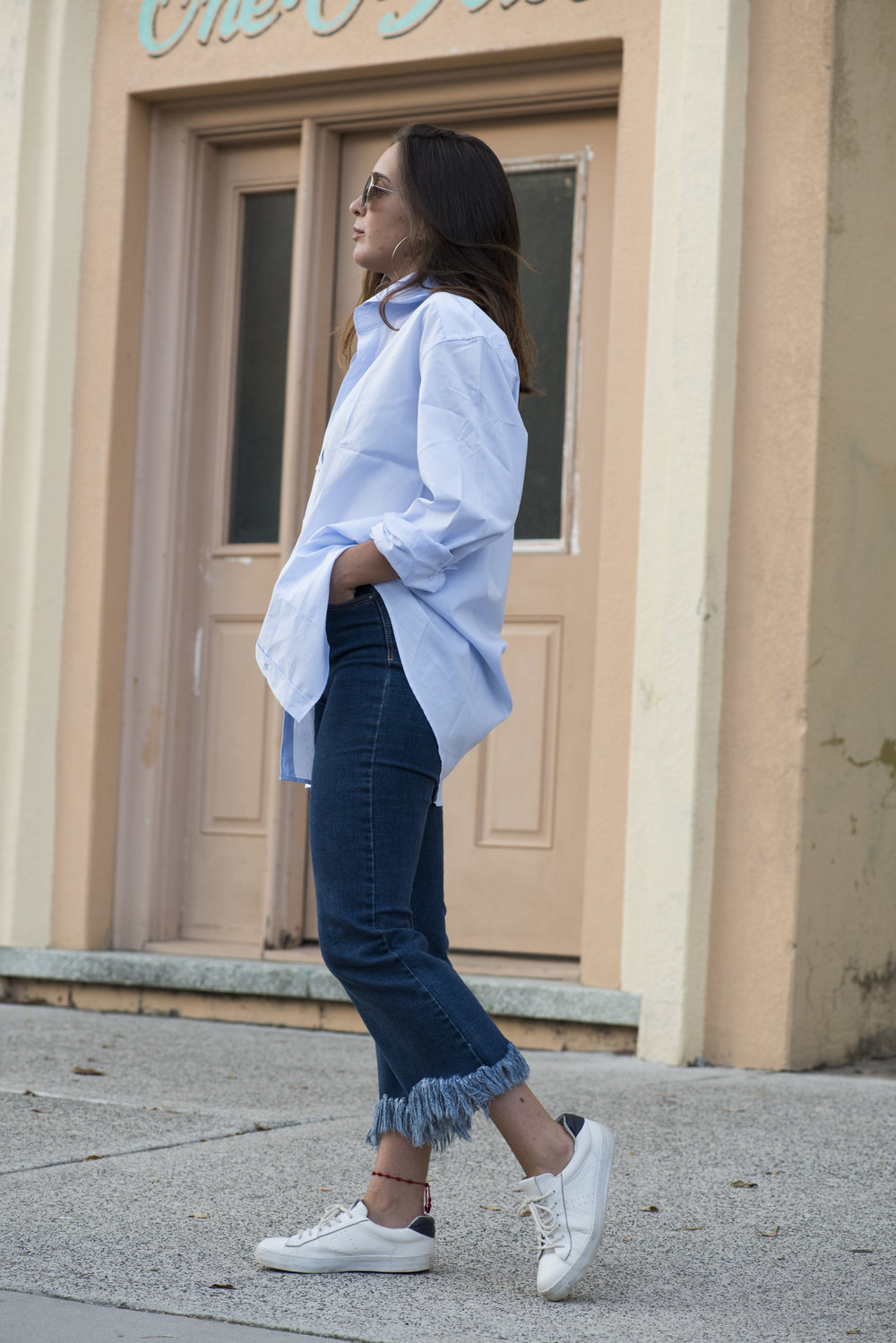 You can wear the Boyfriend Style as a long shirt or with a knot in the front and roll up the sleeves! -