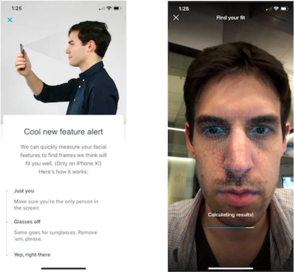 写真は、The Verge, Warby Parker's app is cleverly using the iPhone X's face mapping to recommend glasses より