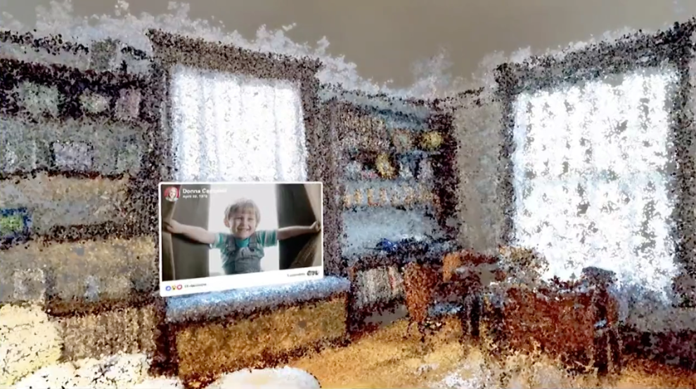 写真は、TechCrunch ' Facebook wants weird 'VR memories' to take you back to your childhood'  より。