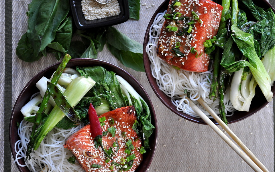 Soy Glazed Salmon with Veggies & Rice Noodles by Food Well Said