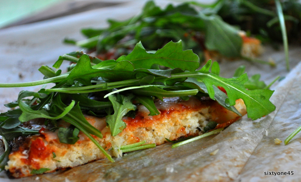 Arugula Margarita Pizza with Cauliflower Crust