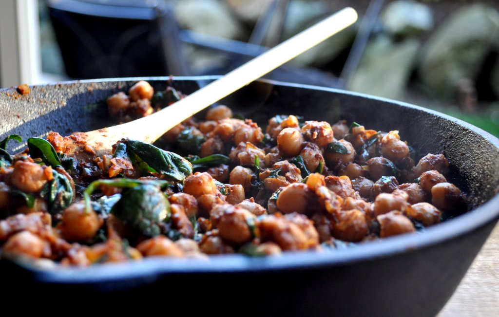 chickpeas in a skillet