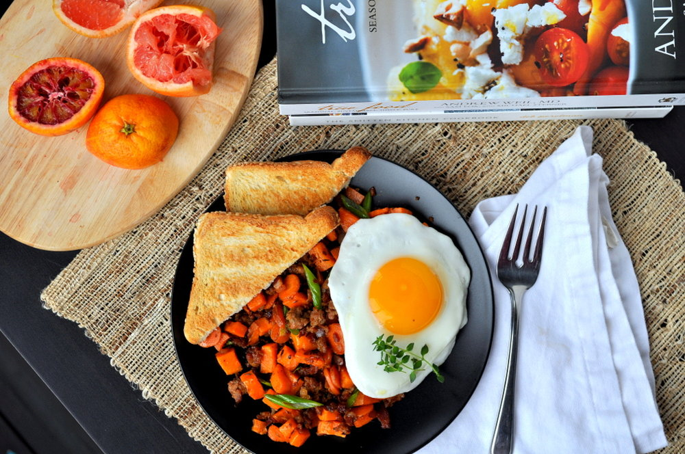 Sweet Potato Chorizo Breakfast Hash with a Citrus Splash
