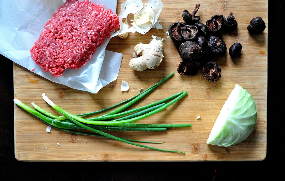 beef and mushroom pot stickers