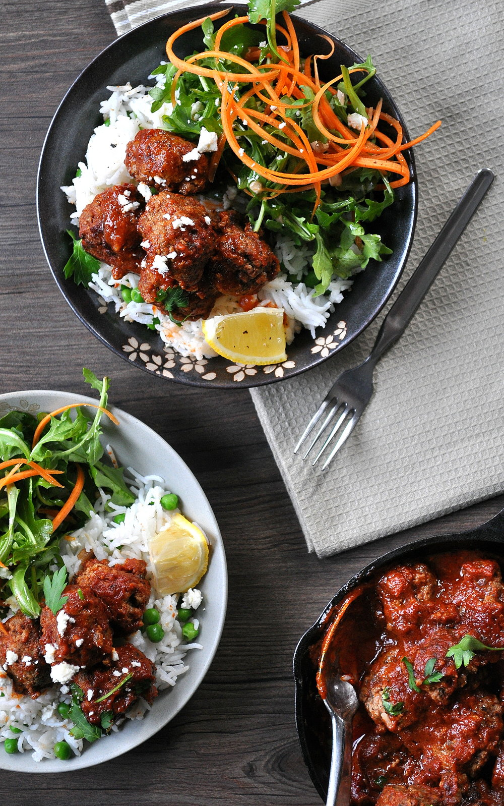 Mini Ricotta Meatballs over Lemon Rice and Peas