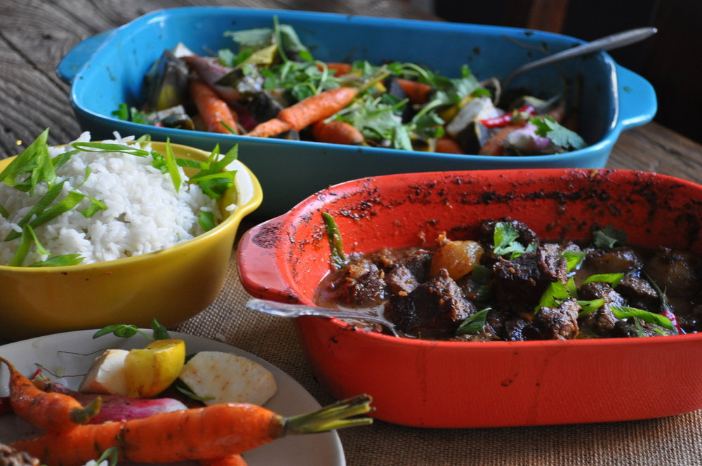 Lemongrass Beef Stew with Roasted Root Vegetables