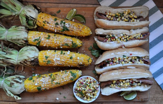 Turkey dogs Corn Relish and Mexican Street Corn