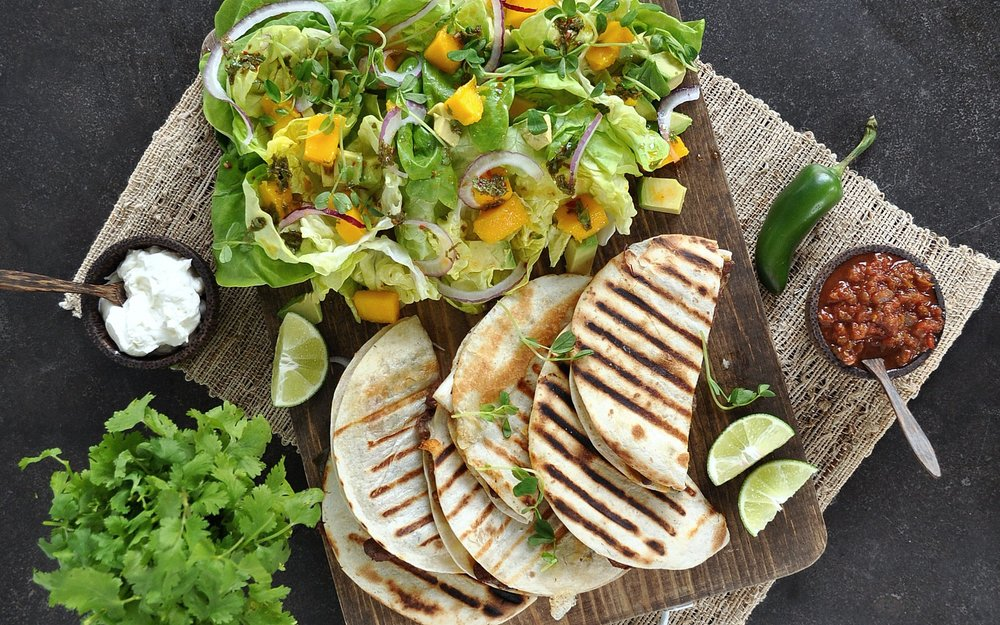 quesadilla and mango salad