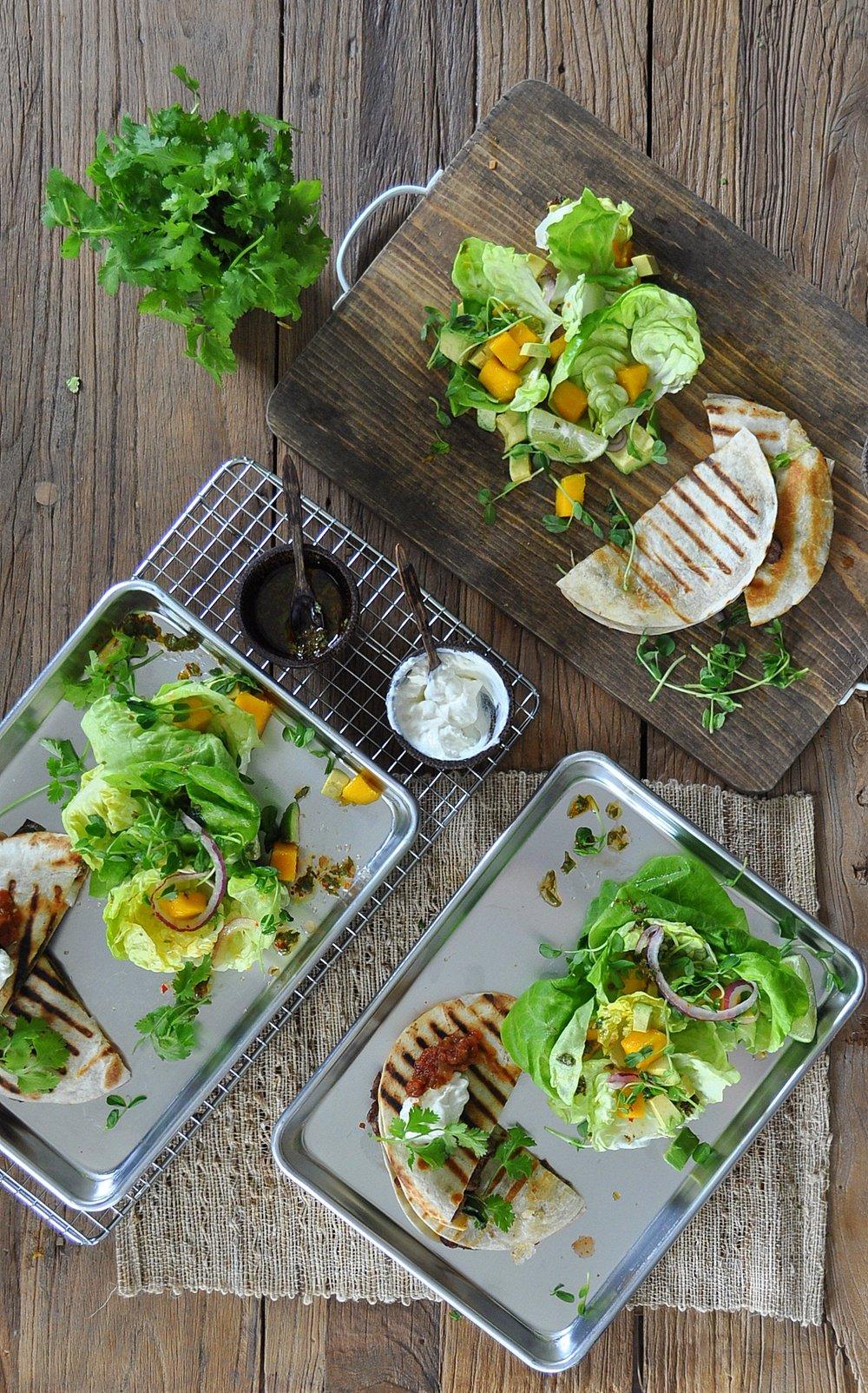 quesadilla and mango salad