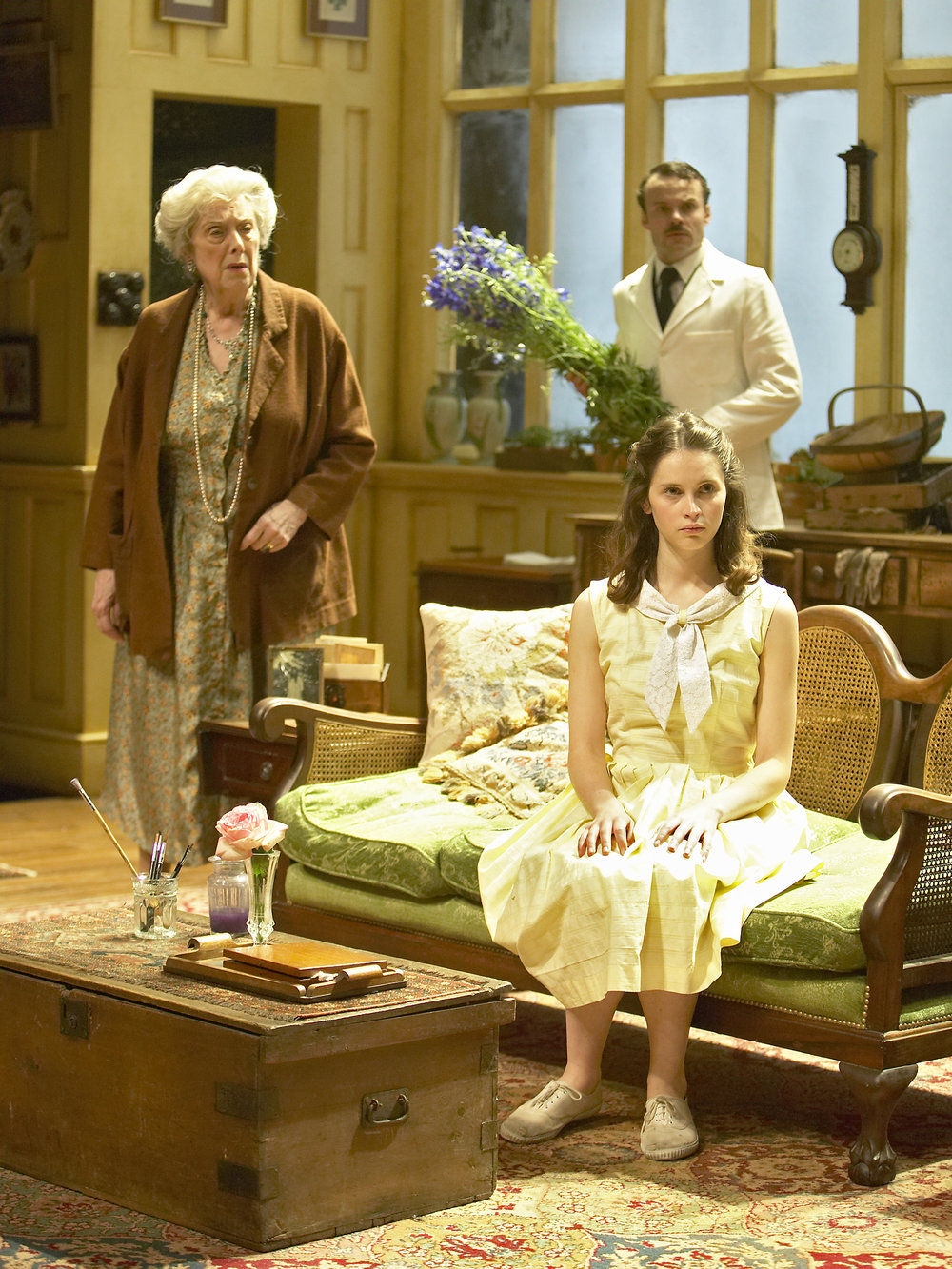 2. Margaret Tyzack (Mrs St Maugham), Jamie Glover (Maitland), Foreground - Felicity Jones (Laurel).by Manuel Harlan.jpg