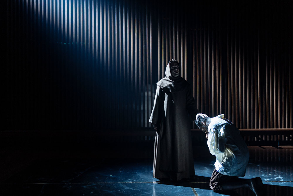 Nicholas Burns (Duke Vincentio) in Measure for Measure at the Donmar Warehouse directed by Josie Rourke, designed by Peter McKintosh. Photo Manuel Harlan-054.jpg