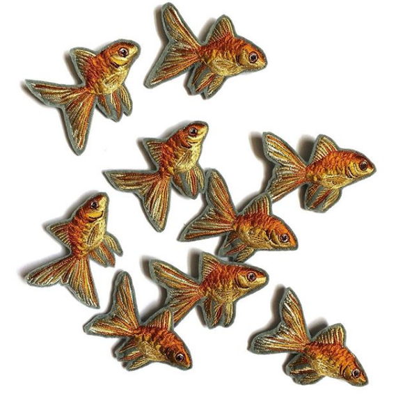 Embroidered Goldfish Brooches by Emily Rose Potter