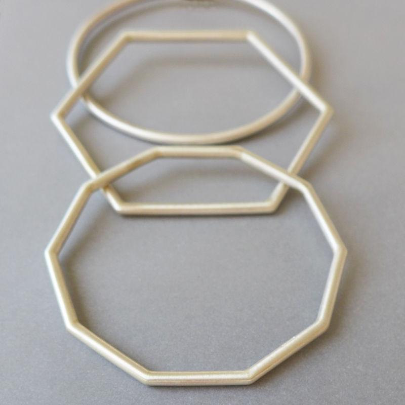 Geometric Sterling Silver Bangles by Laila Smith