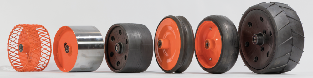 Wheel Options - 100mm Rubber Cage with scraper➜ 120mm➜ 160mm➜ 200mmStainless with Scraper➜ 120mm➜ 160mm➜ 200mm100mm Rubber Zero Pressure100mm Rubber Concave Zero Pressure140mm (MZP) Zero Pressure165mm (LZP) Treaded Zero Pressure