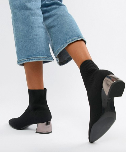 Sock boots - A sock with a heel, is up there with one of the best inventions of the 21st century and most definitely ticks the box of the day to night shoe. Mine are Stradivarius and you can get them by clicking the image.