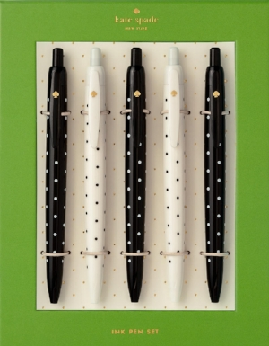 Pretty Pens - When a great idea strikes, what do you do? Jot down your brilliant ideas with a chic and sleek pen, of course! Kate Spade has a great set of black and white polka-dot pens, which are fashionable and suitable for virtually any work environment.