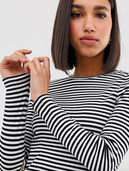 Long sleeved striped tee. - If your office is -7 degrees like mine you can layer this with a polo neck. Pair with a beret and you may as well move to France.