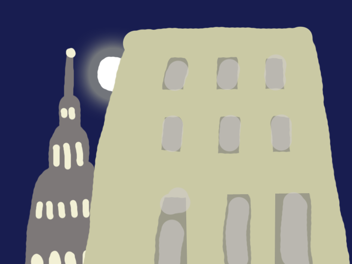 Moon Behind a Building by Jane Aaron