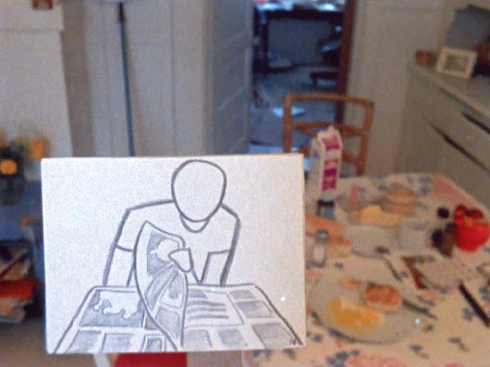 """""""Interior Designs"""" - (1980, 5 min)Awards: Atlanta & Ann Arbor Film Festivals.Screenings: Annecy and Ottawa Animation Festivals, Short Film Showcase, WNET.A journey through the filmmaker's world (and imagination), from the intimacy of her bedroom and studio to the southern California desert and Adirondack mountains. Pixilated drawings are filmed on location in live action settings, making us aware of the limitless extent of our own imagination and that the whole world is susceptible to Jane's animation."""