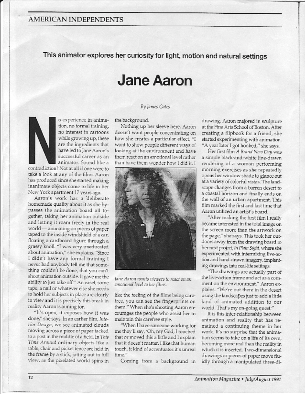James Gates, Animation Magazine, 1991