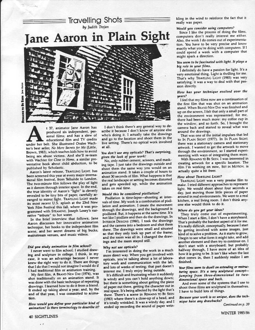 Judith Trojan, Sightlines, Winter 1985/86