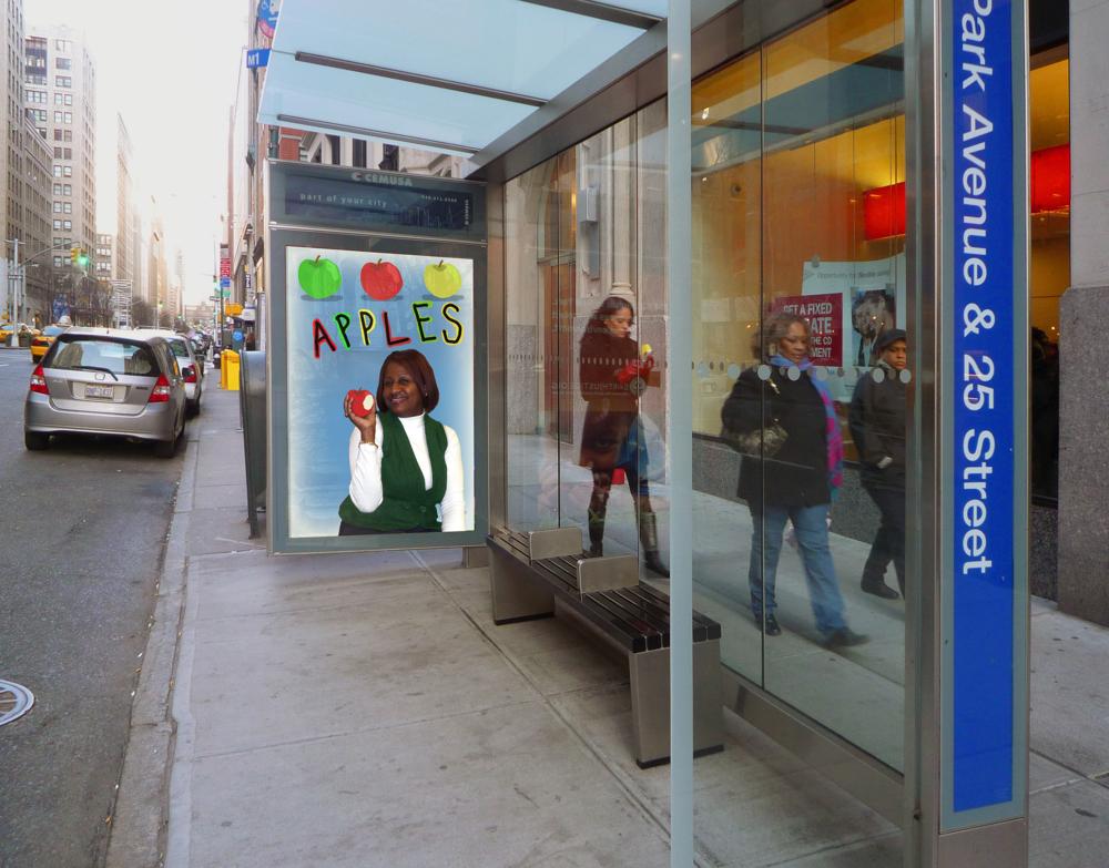 """""""Fresh Food: Apples"""" Campaign Rendering by Jane Aaron"""