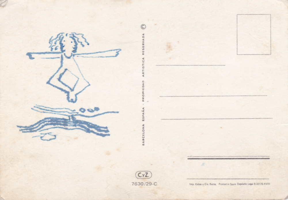 Girl Dancing on a Postcard - Mail Art by Jane Aaron