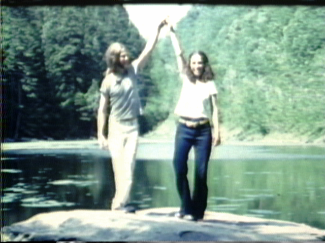 """American Pixilation Dance Theatre presents"" - (by Jane Aaron and Skip Blumberg, 1975, 3 min)Alice Wexler, Skip Blumberg and Jane Aaron (in order of appearance) perform impossible choreography, antic stunts and magical tricks for a pixilating 16mm Bolex camera on location at Stony Clove Notch Pond  in the heart of the Catskill Mountains."