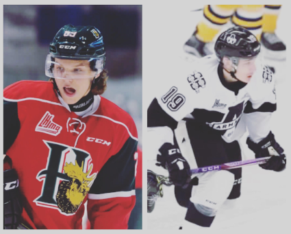 One of many teams could come out of the QMJHL, but the two teams leading the pack right now are the Halifax Mooseheads and the Blainville-Boisbriand Armada. Pictured here are Otto Sompi (left) and Alex Barre-Boulet (right).