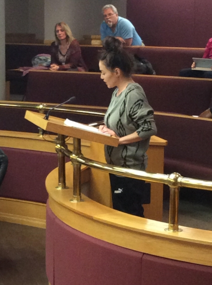 Stacey Houghton addressing council