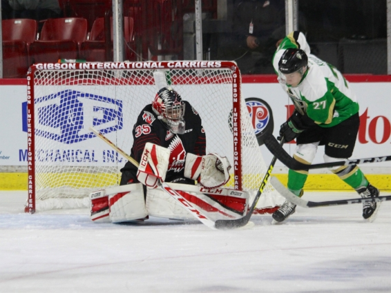 Brody Willms was spectacular in net, shutting out the home Raiders  Photo: Marc Smith/Discover Moose Jaw